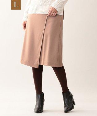 【L】ウール圧縮ラップ風スカート