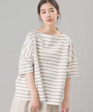 【OMNES】バスク生地 ボックスカットソー 半袖Tシャツ ボーダー 無地