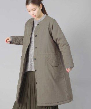 【OMNES】コットンナイロンノーカラー中綿ロングコート