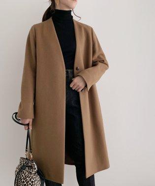 【WEB限定】Vネックウールメルトンノーカラーコート