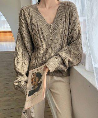トップス レディース 秋冬物 長袖 ニット編む vネック セーター ゆったり 無地 リブ 暖かい 綺麗め お洒落 グレー ブラウン コーヒー フリーサイズ