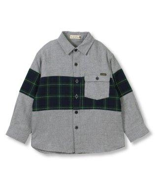 チェック柄切り替え長袖シャツ(90~150cm)