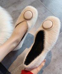 ファーパンプス レディース ファー靴 フラットシューズ 秋冬 裏起毛 ローヒール もこもこ 暖かい