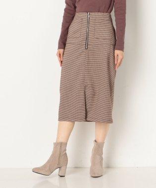 フロントzipチェックタイトスカート