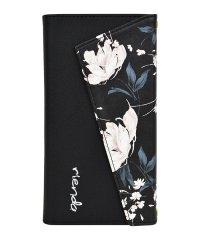 rienda[ロングストラップ・小銭収納付き3つ折り手帳/Grace Flower/ブラック] iPhone11