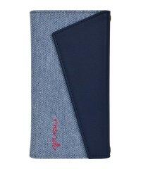 rienda[ロングストラップ・小銭収納付き3つ折り手帳/デニム&ネイビー] iPhone11