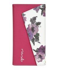 rienda[ロングストラップ・小銭付き3つ折り手帳/Parm Flower/ピンク] iPhone11Pro