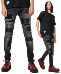 Unplugged leather patch denim