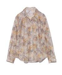 ぼかし花柄刺繍シャツ