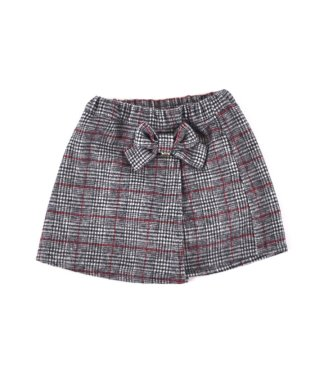 チェックラップ風スカートパンツ