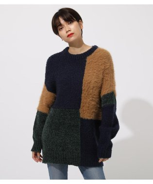 YARN BLOCK MIX KNIT TOP