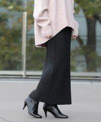 Demi-Luxe BEAMS / ワイドリブ ロングスカート