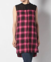 【NONAGON】PLAID & SHIFFON SLEEVELESS SHIRT ONE PIECE