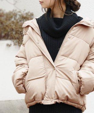 【and it_】フーディーエコダウンジャケット【M】レディース 冬 アウター ベージュ グリーンカーキ ブラック フード付き 軽い 軽量 中綿 あったか 暖か