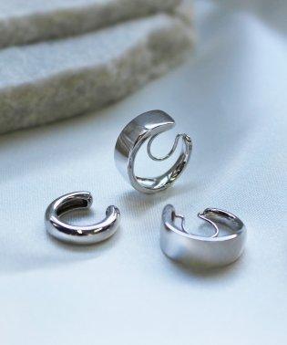 stylish silver hoopイヤリング&イヤカフ