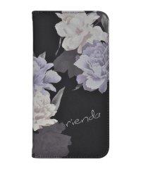 rienda[全面/Layer Flower/ブラック]手帳ケース iPhoneXR