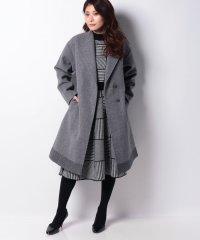 ニットメルトン裾配色スタンドカラーコート