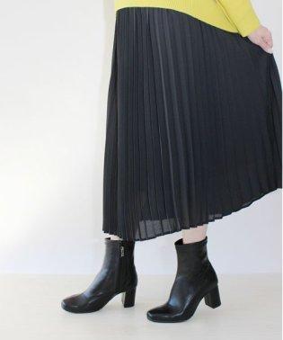 スクエアトゥストレッチミディ丈ブーツ【低反発スポンジ入り】