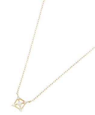 K18ダイヤモンド 透かしフチミル スクエアネックレス