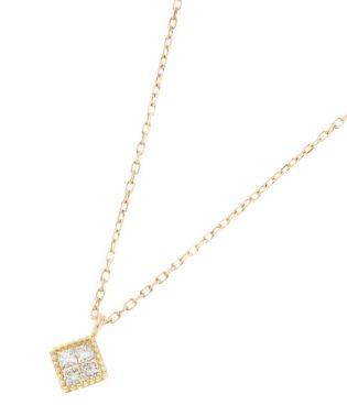 K18ダイヤモンド ミステリーセッティング ひし形ネックレス