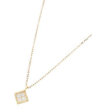 K18ダイヤモンド ミステリーセッティング ひし形ベゼルネックレス