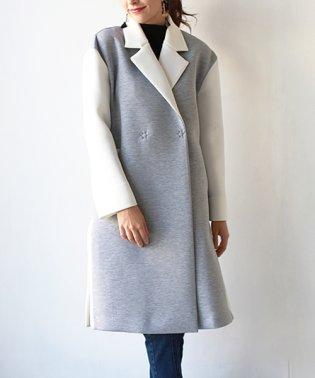 バイカラージャケットコート