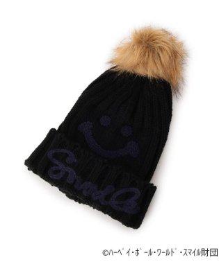 スマイリーフェイスポンポンニット帽