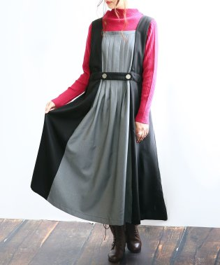 『somariタックデザインバイカラージャンパースカート』