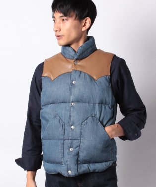 REVERSIBLE DOWN VEST MID WASHED DENIM 4
