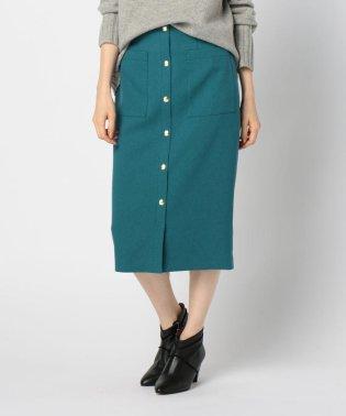 フロントドット釦ミディタイトスカート