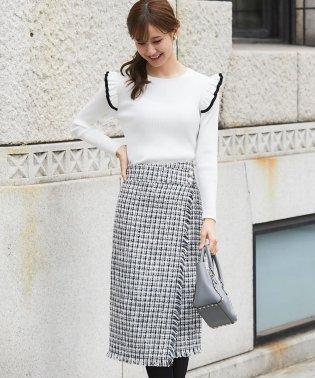【美人百花1月号掲載】パール釦ツイードラップスカート