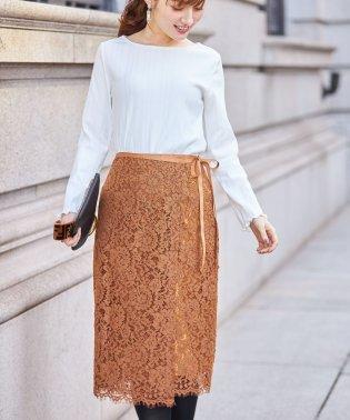 りぼん付きフラワーレースラップタイトスカート