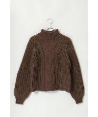 手編み風モックネックニットプルオーバー