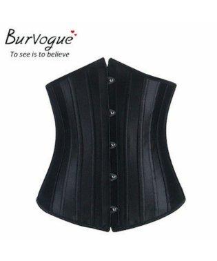 Burvogue バーヴォーグ 23051 コルセット 24p強化 シングルスチールボーン 編み上げ バストアップ 補正下着 姿勢矯正くびれ Tバック付き