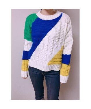 ざっくり ラウンドネック ボーダー カラフル ニット セーター 韓国ファッション