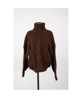 ざっくり 大きな ニットセーター ハイネック ケーブル編み シンプル 暖かいトップス 韓国ファッション