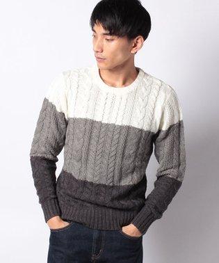ケーブル編み ニット セーター 3段切替 クルーネック