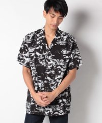 CUBANO SHIRT HALFTONE PALM BLACK PRINT