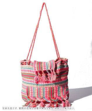 マルチカラー刺繍フリンジバッグ