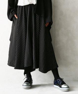 『kOhAKUストライプ切替アシメ立体スカート』