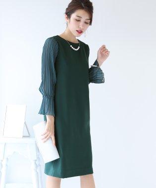 ネックレス付き袖プリーツシフォンIラインドレス