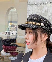 帽子 レディース キャスケット チェック柄 おしゃれ?可愛い マリンキャップ 大人 飾りボタン