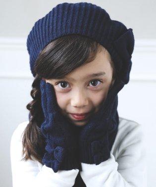 ケーブル編みリボン付き手袋
