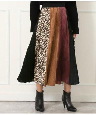 サイドヒョウ柄ベロアプリーツスカート