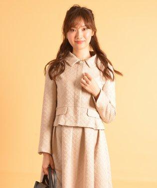 刺繍風モノグラムジャガードステンカラージャケット