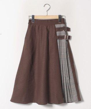バックルベルトチェックプリーツスカート