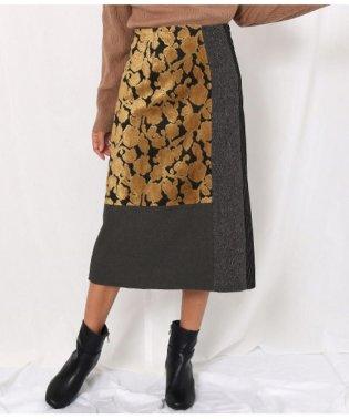 異素材パッチワークデザインスカート