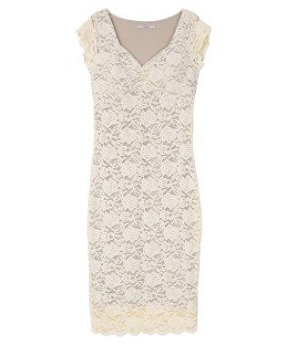 ジャージーレースダイヤネックドレス