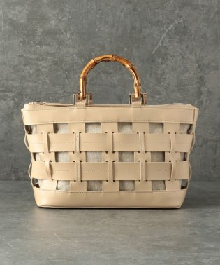 【CACHELLIE】ECO LEATHER*BAMBOO HANDLE TOTE