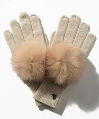 ファーポンポン付き手袋